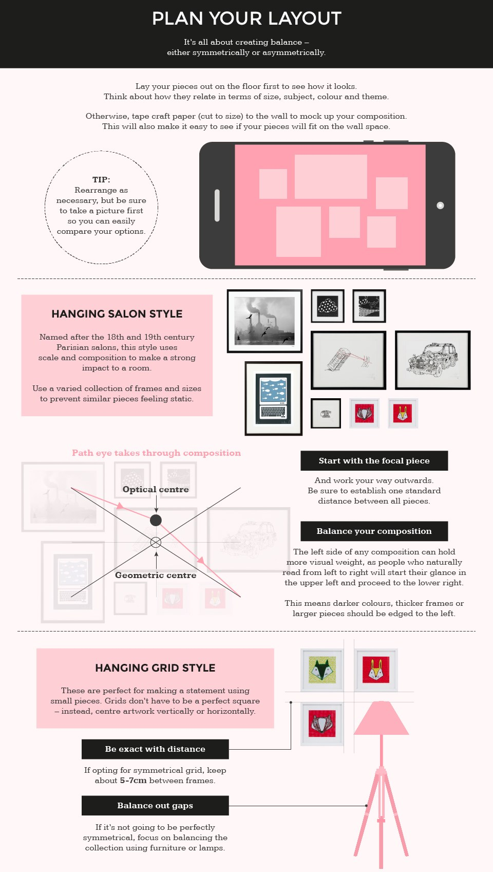 Guide to planning your layout when hanging pictures