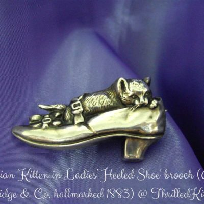 Late Victorian Kitten and Shoe Brooch in Sterling Silver, Hallmarked 1883