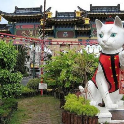 Cat statue outside of a temple in central Kuching City, Malaysia