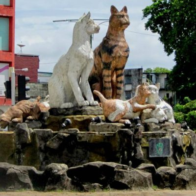 Group of statues depicting a family of cats in central Kuching City, Malaysia