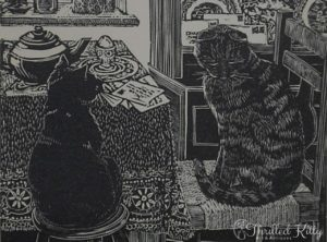 'Breakfast Cats' by Hilary Whyard | Wood Engraving | 1980s