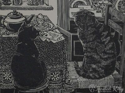 'Breakfast Cats' by Hilary Whyard   Wood Engraving   1980s