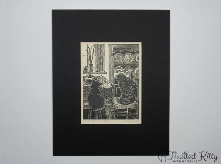 Breakfast Cats by Hilary Whyard-Wood Engraving-1980s-2