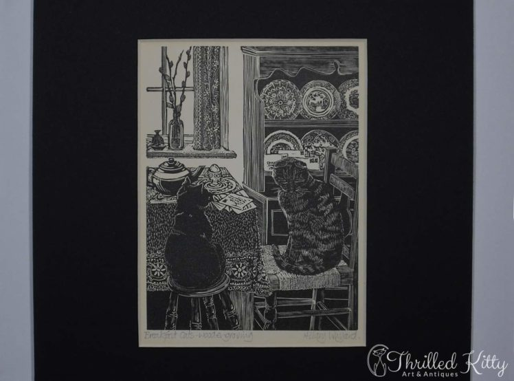 Breakfast Cats by Hilary Whyard-Wood Engraving-1980s-4