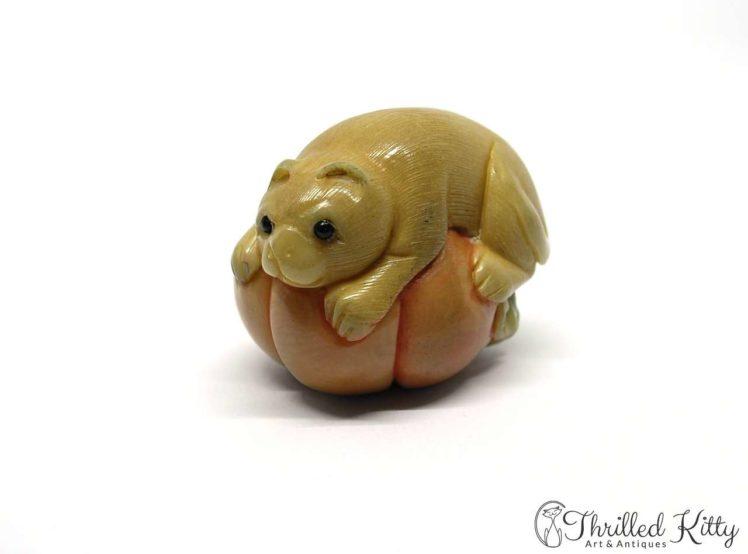 Carved Tagua Nut Katabori Netsuke-Cat on a Pumpkin-1
