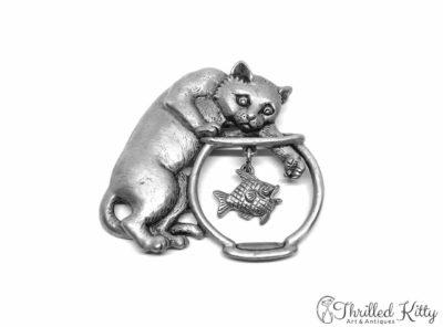 Cat & Fishbowl Vintage American Brooch | Jonette Jewelry | 1980s