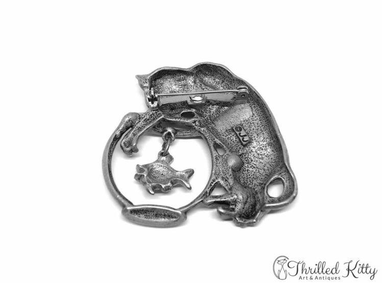Cat & Fishbowl Vintage American Brooch Jonette Jewelry 1980s 2