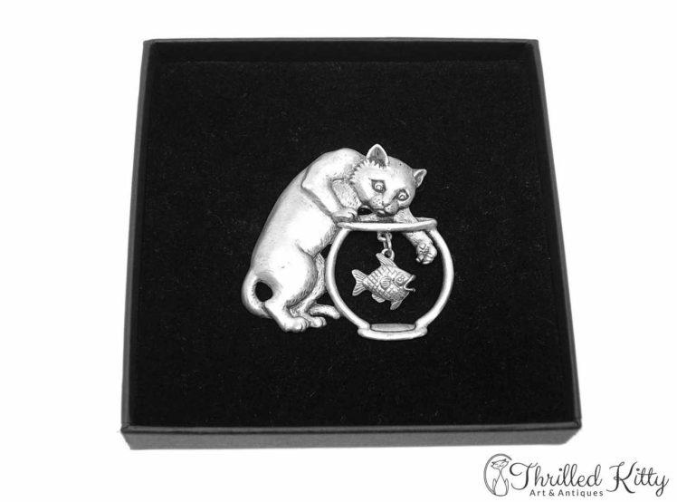Cat & Fishbowl Vintage American Brooch Jonette Jewelry 1980s 4