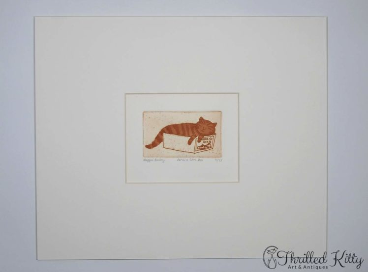 Cat in a Shoe Box by Maggie Burley-Limited Edition Etching-2