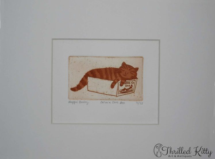 Cat in a Shoe Box by Maggie Burley-Limited Edition Etching-4