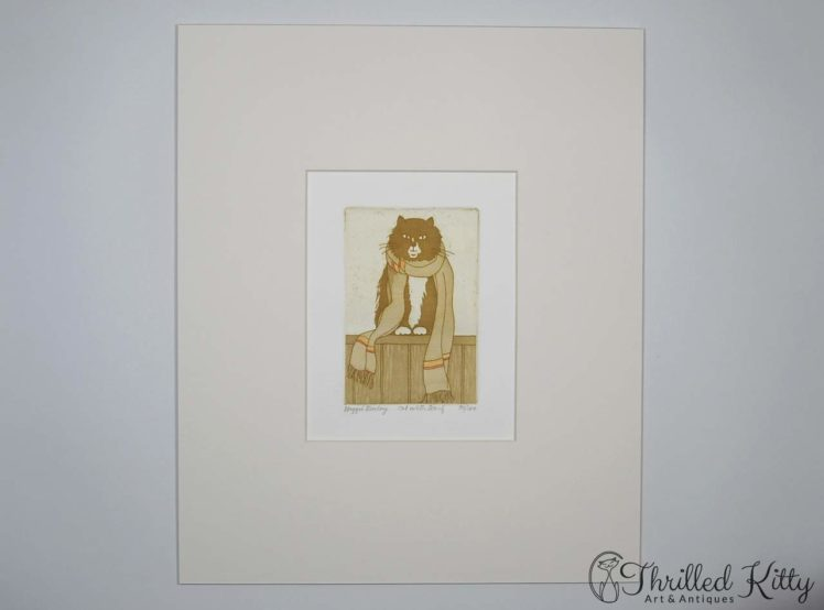 Cat with Scarf by Maggie Burley-Limited Edition Etching-2