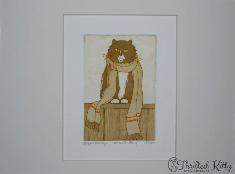 Cat with Scarf by Maggie Burley-Limited Edition Etching-4