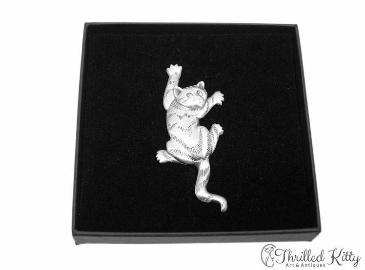 Climbing Cat Vintage American Brooch Jonette Jewelry 1980s 4