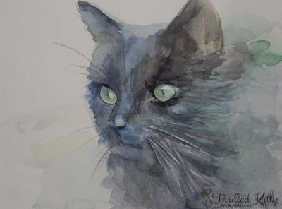 'Dark Cat' by Petya Tosheva | Watercolour