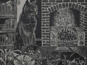 'Fireside Cats' by Hilary Whyard | Wood Engraving | 1980s