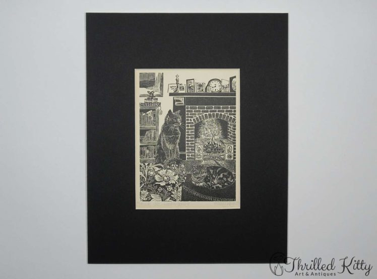 Fireside Cats by Hilary Whyard-Wood Engraving-1980s-2