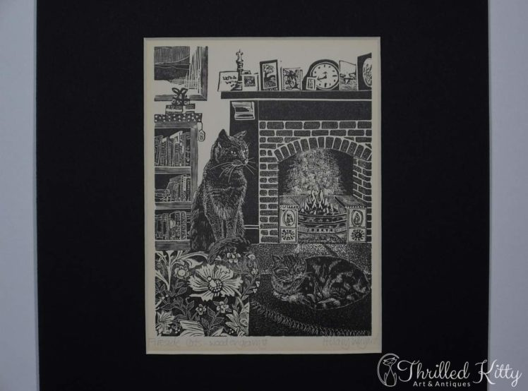 Fireside Cats by Hilary Whyard-Wood Engraving-1980s-4