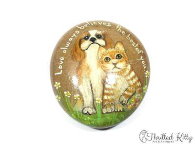 Hand-painted Cat & Dog Stone Paperweight | Signed H.L. Thompson