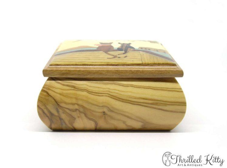 Italian Sorrento Ware Jewellery Box-Inlaid Olive Wood-7