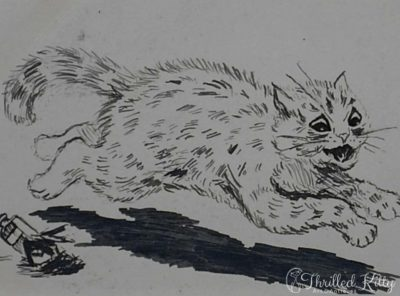 Louis Wain-style Comical Cat Sketch | Ink | 1901