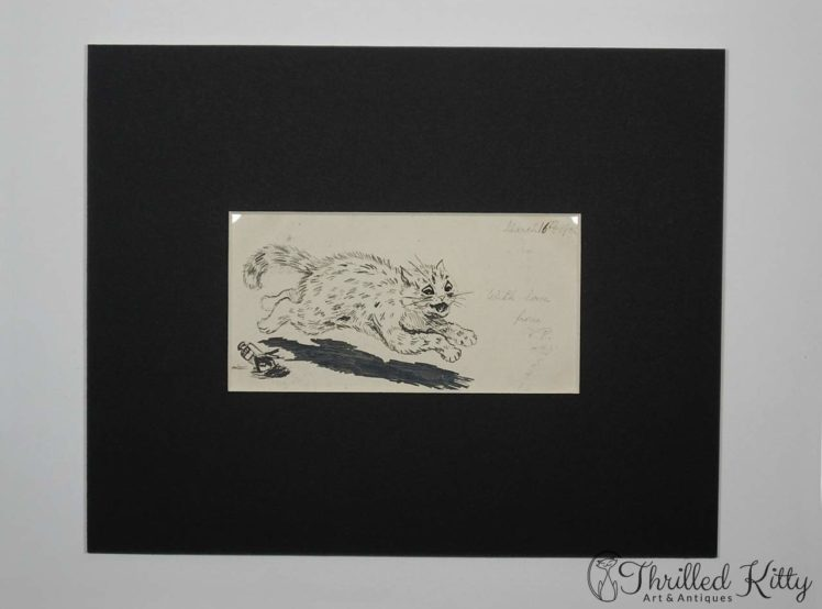 Louis Wain-style Comical Cat Sketch-Ink-1901-2