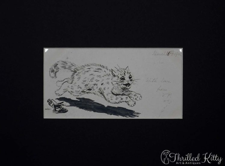 Louis Wain-style Comical Cat Sketch-Ink-1901-4