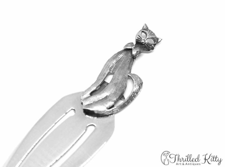 Sitting Bow Tie Cat Bookmark Solid Sterling Silver 3