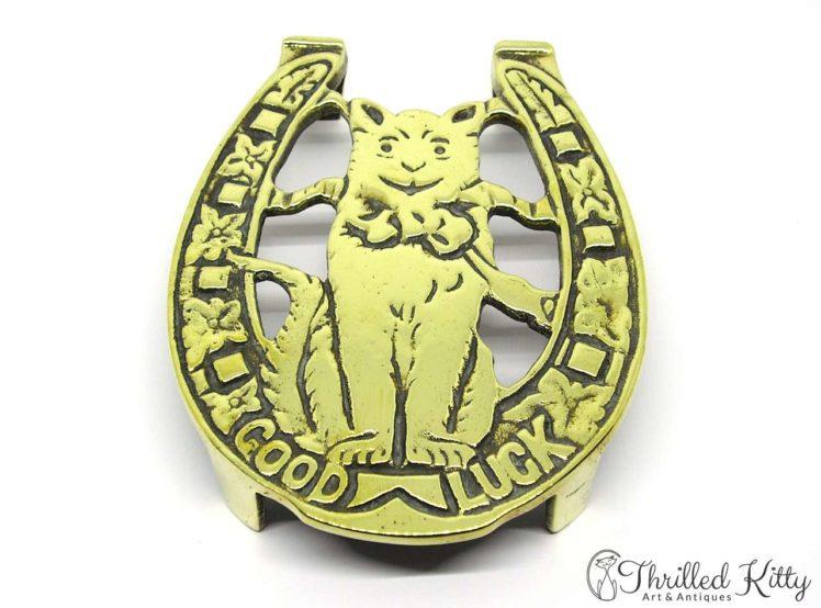 Solid Brass Trivet or Pot Stand-Good Luck Cat-1920s-1
