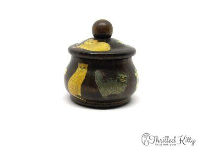 Unique Découpaged Lidded Treen Pot