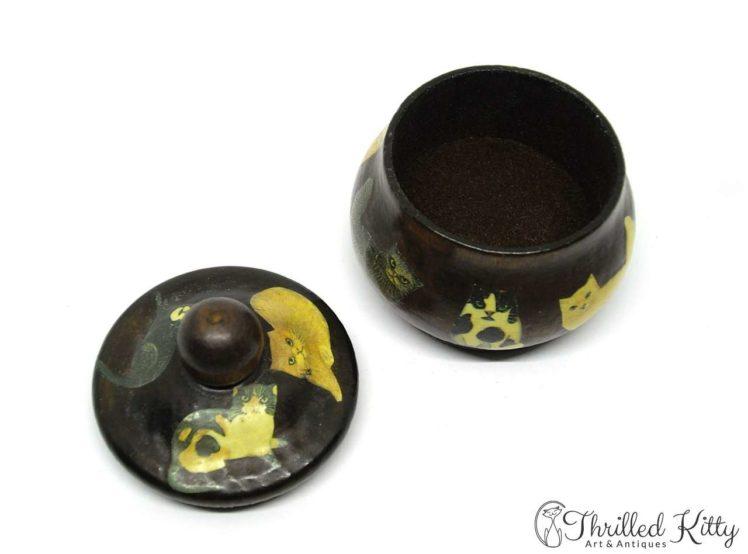 Unique Découpaged Lidded Treen Pot-4