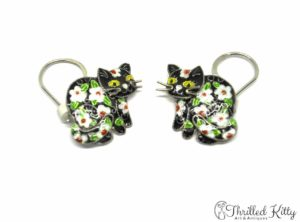 Vintage Floral Cat Drop Earrings | Cloisonné on Sterling Silver