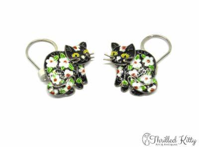 Vintage Floral Cat Drop Earrings | Cloisonné on Sterling Silver