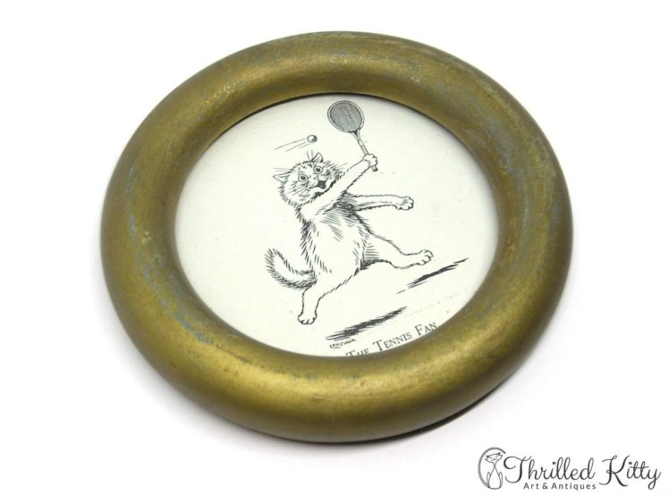 The Tennis Fan by Louis Wain-Vintage Circular Framed Print-3