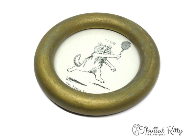 The Tennis Fan by Louis Wain-Vintage Circular Framed Print-4