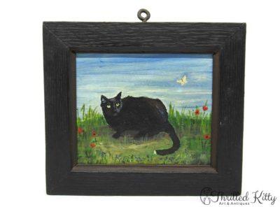 'Tom Tom' – Cat & Butterfly | Oil on Board | 1982