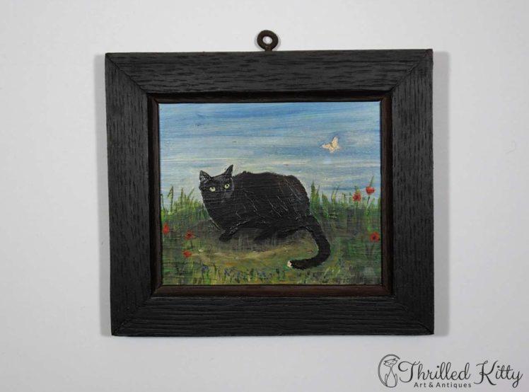 Tom Tom Cat & Butterfly-Oil on Board-1982-2