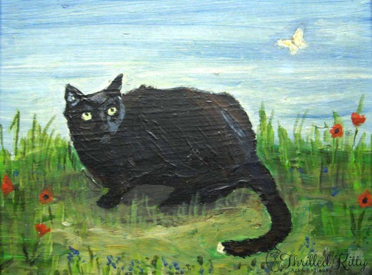 Tom Tom Cat & Butterfly-Oil on Board-1982-3
