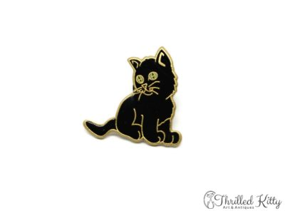 Cloisonné Adorable Kitten with Green Eyes Lapel Pin | 1980s