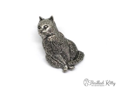 Detailed English Pewter Sitting Cat Lapel Pin | A.R. Brown | 1980s