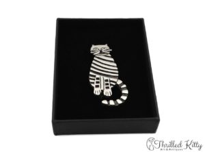 Fabulous Stripey Cat Brooch | Irish Hallmarked Sterling Silver