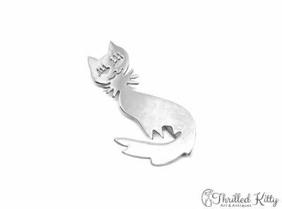 Quirky Vintage Mexican Silver Cat Brooch | Taxco de Alarcón