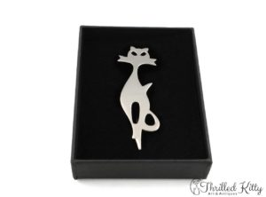 Stylised Silhouette Modernist Cat Brooch | Sterling Silver