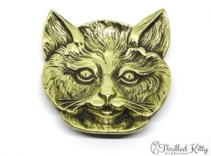 Charming Cat's Face Footed Brass Dish | Mid Twentieth Century