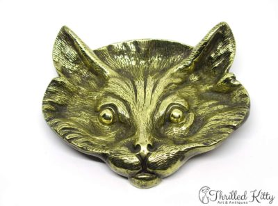 Figurative Cat's Face Solid Brass Pin Dish | Mid Twentieth Century