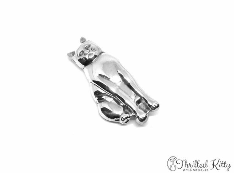 Temp-Sitting-Cat-Silver-Brooch-1970s-1