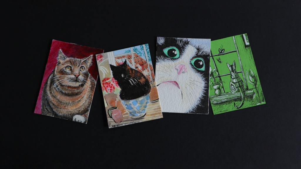 A selection of miniature cat portraits