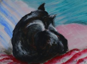 'Comfy Cat' by Blu | Acrylic on board