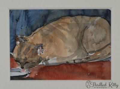 'Cat Drinking Milk' by Annabel Burton | ACEO
