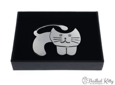 Chunky Cheerful Cat Brooch | Hallmarked Sterling Silver