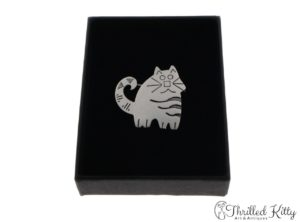 Cute Stripey Cat Brooch | Sterling Silver